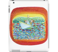 kids sailing away on a paper sail boat  iPad Case/Skin
