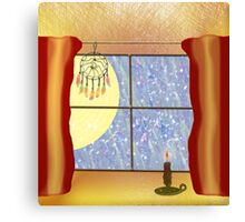A Warm Winter Refuge - Dreamcatcher and Candle Flame Canvas Print