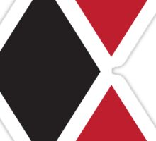 Harley Quinn black and red diamonds split Sticker