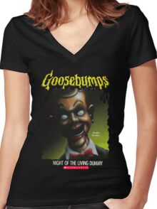 Goosebumps - Night of The Living Dummy Women's Fitted V-Neck T-Shirt