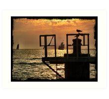 Key West sunset Mallory Pier Art Print
