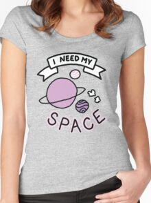 Introvert space galaxy awkward teen tumblr snapchat sticker print Women's Fitted Scoop T-Shirt