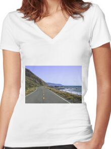 Lost Coast, Humboldt County, California Women's Fitted V-Neck T-Shirt