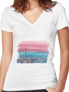 We all have a dream! Paris 3 in French.... Women's Fitted V-Neck T-Shirt