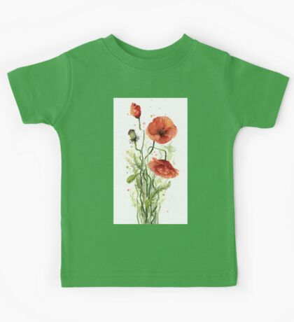 Red Poppies Watercolor Painting Kids Tee