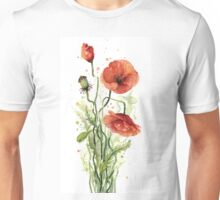 Red Poppies Watercolor Painting Unisex T-Shirt