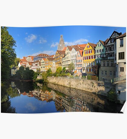 Beautiful Tuebingen Germany - Neckar waterfront Poster