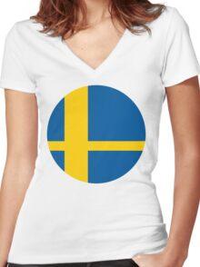 Sweden Smash Women's Fitted V-Neck T-Shirt