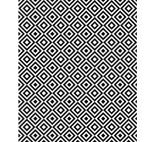 Black & White Geometric Diamond Pattern  Photographic Print