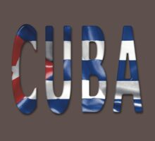 Cuba Word With Flag Texture One Piece - Short Sleeve
