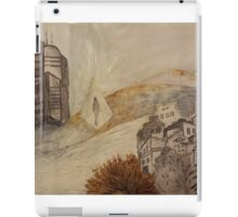 Travelling in glass pyramid between modern city and historic abandoned town iPad Case/Skin