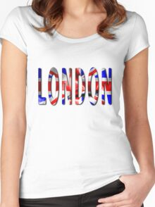 London Word With Flag Texture Women's Fitted Scoop T-Shirt