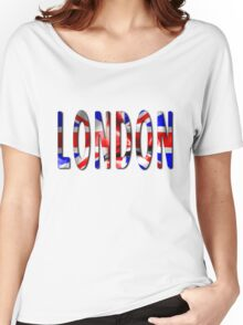 London Word With Flag Texture Women's Relaxed Fit T-Shirt