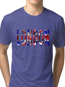 London Word With Flag Texture Tri-blend T-Shirt