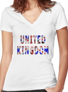 United Kingdom Word With Flag Texture Women's Fitted V-Neck T-Shirt