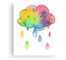 Kawaii Rainbow Cloud Canvas Print