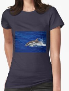 A wild free dolphin jumping  Womens Fitted T-Shirt