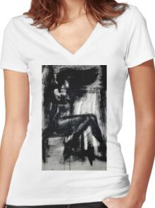 The Sensual Blue, 2 Women's Fitted V-Neck T-Shirt