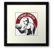 Fitness center or gym emblem Framed Print