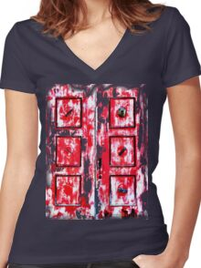 Phillipsburg Montana - What Happened Behind The Red Door Women's Fitted V-Neck T-Shirt