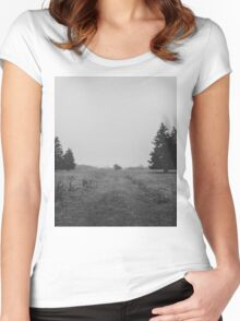 Siblings - black and white landscape photography Women's Fitted Scoop T-Shirt
