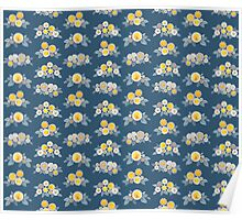 flower bunches - indigo and indian yellow on blue background Poster