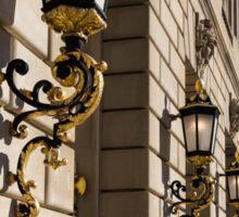 Light and Shadow - Antique Gilded Lanterns on a Washington, DC Facade Sticker