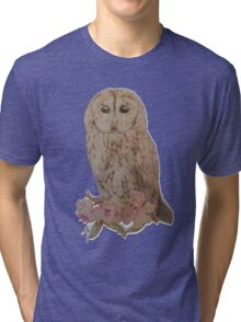 Owl and Flowers Tri-blend T-Shirt