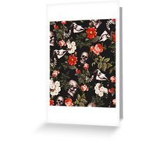 Floral and Skull Pattern Greeting Card