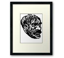 Creepy Caveman Head  Framed Print