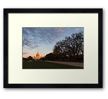 Soft Orange Glow - US Capitol and the National Mall at Sunset Framed Print