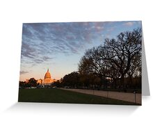 Soft Orange Glow - US Capitol and the National Mall at Sunset Greeting Card