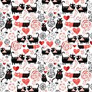 Graphic pattern of funny cats lovers by Tanor