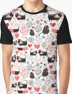 Graphic pattern of funny cats lovers Graphic T-Shirt