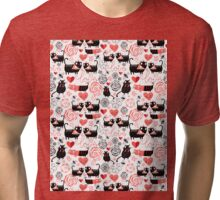 Graphic pattern of funny cats lovers Tri-blend T-Shirt