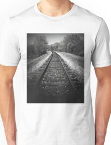 A walk in the woods by tracks..Metal on metal T-Shirt