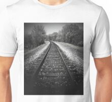 A walk in the woods by tracks..Metal on metal Unisex T-Shirt