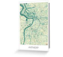 Antwerp Map Blue Vintage Greeting Card