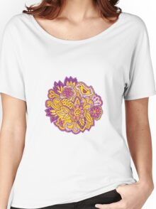 Purple and yellow flower pattern Women's Relaxed Fit T-Shirt