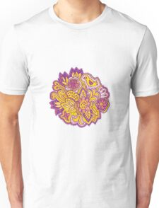 Purple and yellow flower pattern Unisex T-Shirt