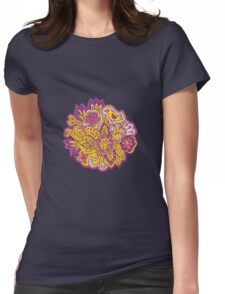 Purple and yellow flower pattern Womens Fitted T-Shirt