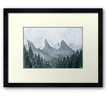 Blue mountains Watercolor Illustration Framed Print