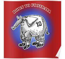 cartoon style football player elephant Poster