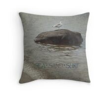 Seagull on Rock - Nature Throw Pillow