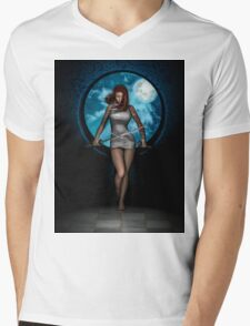 New Moon Mens V-Neck T-Shirt