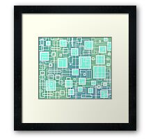 Turquoise Green Blue Retro Design - by Maria Eames Framed Print