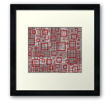 Red and Grey Retro Design - by Maria Eames Framed Print