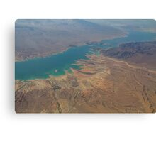 Aerial view over a drying river Canvas Print
