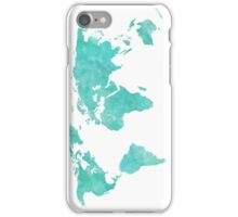 Blue and Teal Watercolor World Map iPhone Case/Skin