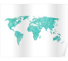 Blue and Teal Watercolor World Map Poster